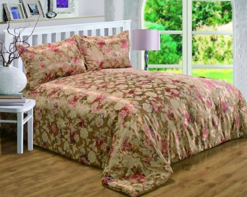 GOLD COLOUR BRONZE FLORAL RICH JACQUARD QUILTED BEDSPREAD SET LUXURY BEAUTIFUL GLAMOUR BEDDING